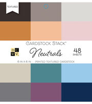 DCWV Pack of 48 6''x6'' Printed Textured Cardstock Stack-Neutrals, , hi-res