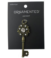 hildie & jo™ Ornamented Key Antique Gold Pendant-Crystal & Pearls, , hi-res