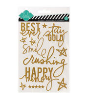 "Heidi Swapp Mixed Media Glitter Stickers 5""X7""-Gold, Best Ever, , hi-res"