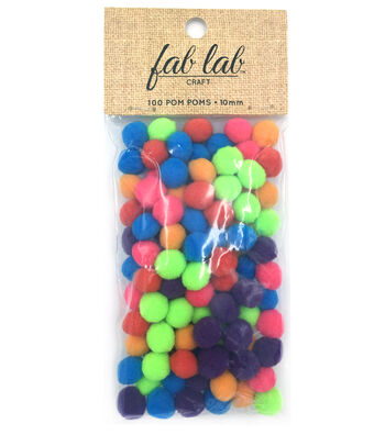 Acrylic Pom Poms, Colors, 10mm dia., 100pcs.