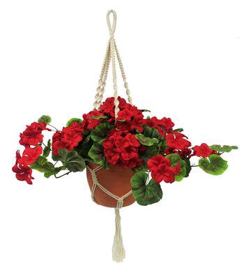 Fresh Picked Spring Geranium Arrangement in Hanging Pot-Red