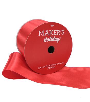 Maker's Holiday Christmas Satin Ribbon 4''x40'-Red
