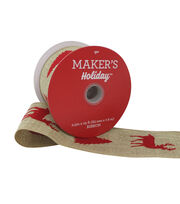 Maker's Holiday Christmas Ribbon 2.5''x25'-Red Flocked Deer & Tree, , hi-res