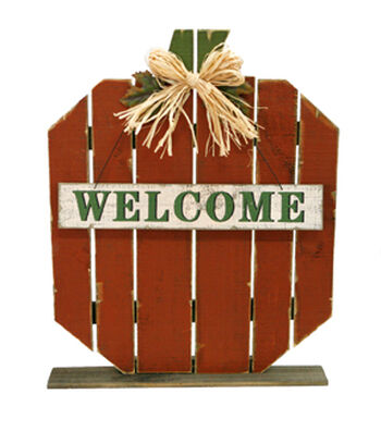 Fall Into Color Thanksgiving Wood Pumpkin Porch Sign-Orange Welcome