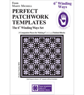 """Perfect Patchwork Template-Winding Ways 6"""" 3/Pkg"""