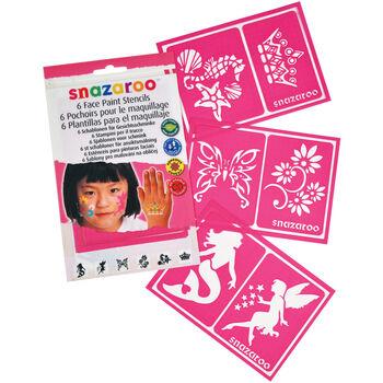 Snazaroo Face Painting Stencils 6/Pkg-Girls' Fantasy