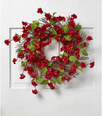 Fresh Picked Spring 22'' Quince Blossom & Twig Wreath-Red