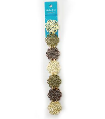 hildie & jo™ 7'' Open Snowflake Strand-Gold, Antique Gold & Brass