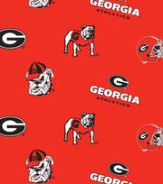 "University of Georgia Bulldogs Fleece Fabric 58""-All Over, , hi-res"