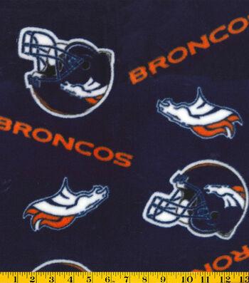 """Denver Broncos Fleece Fabric 58""""-Tossed"""