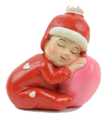 Valentine's Day Littles Polyresin Sleeping Baby with Heart