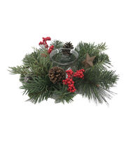 Blooming Holiday 12'' Berry, Pine, Pinecone, Bell & Star Candle Holder, , hi-res