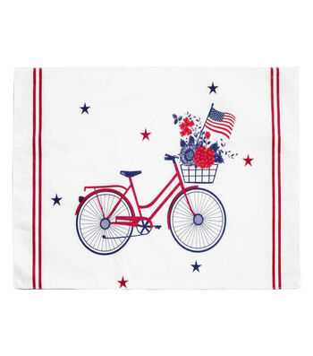 Americana Patriotic Indoor Placemat-Bike, Stars & Stripes on White