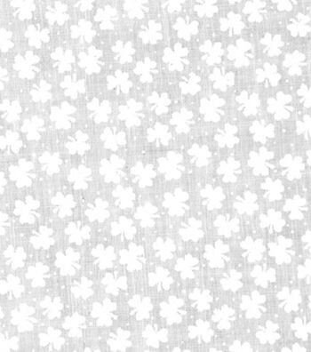 St. Patrick's Day Lucky Irish Print Fabric 43''-White Shamrocks