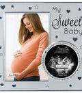 Metal Frame 4x6 With 3x3 Sonogram Opening-\u0022My Sweet Baby\u0022 Silver