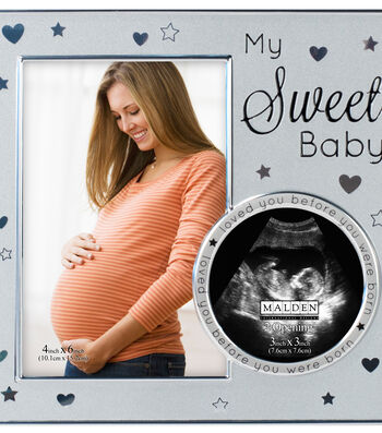 """Metal Frame 4x6 With 3x3 Sonogram Opening-""""My Sweet Baby"""" Silver"""