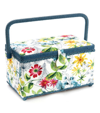 Medium Rectangle Sewing Basket-White Floral