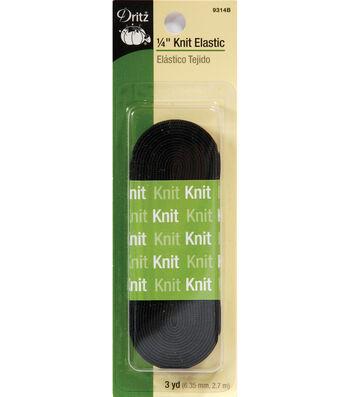 """Dritz 1/4"""" Knit Elastic Black 3 Yd"""