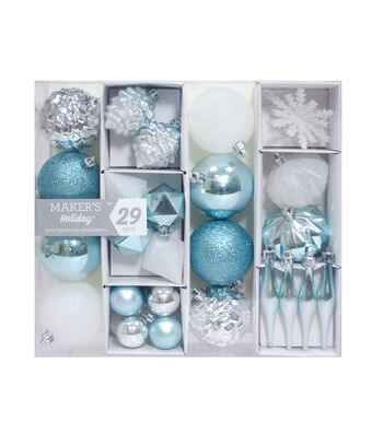 Maker's Holiday Christmas Arctic Frost 29 pk Shatterproof Ornaments