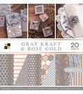DCWV 12\u0022x12\u0022 Premium Printed Cardstock Stack-Gray Kraft & Rose Gold