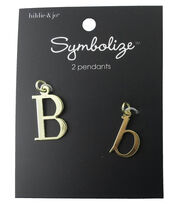 hildie & jo™ 2 Pack Letter 'B' Upper & Lower Case Gold Pendants, , hi-res