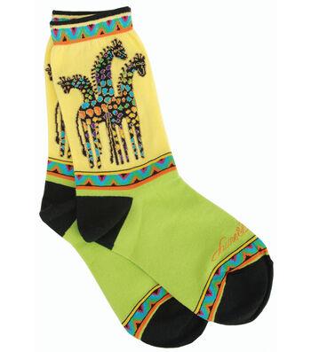 Laurel Burch Socks-Giraffes-Yellow/Green