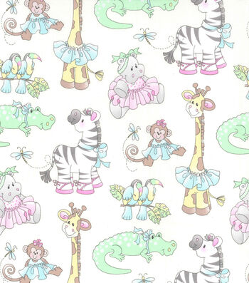 Nursery Cotton Fabric 44''-Jungle Ballet