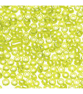Glass Seed Beads-Lt. Green Transparent, Rainbow Effect, 10/0, 20 grams