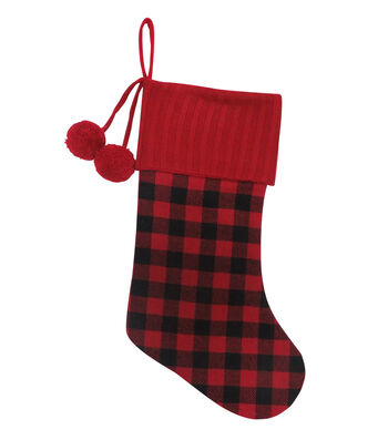 Maker's Holiday Christmas Stocking with Buffalo Plaid Cuff & Pom Pom-Red