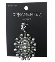 hildie & jo™ Ornamented Oval Antique Silver Pendant-Pearls, , hi-res