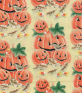 Halloween Cotton Fabric 43\u0022-Smiling Pumpkin Patch