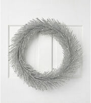 Blooming Holiday Christmas 24'' Glitter Pine Wreath-Silver, , hi-res