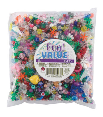 Fun Value Pack Mixed Plastic Beads 16 Ounces-Assorted