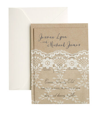 Save The Date 25 Pack Kraft Invitation Cards with Lace Pocket