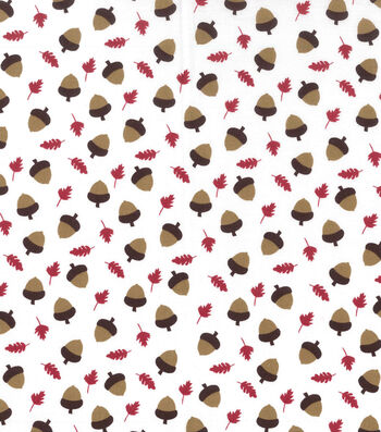"Holiday Showcase™ Harvest Cotton Fabric 43""-Acorns & Leaves"
