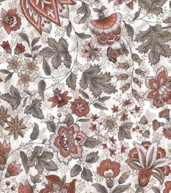Vintage Cotton Fabric 43''-Orange Jacobean