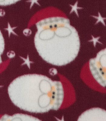 """Anti-Pill Fleece Fabric 59""""-Santa Faces"""