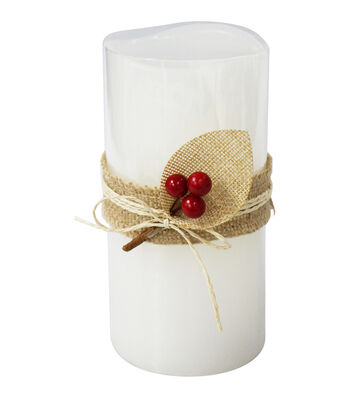 Maker's Holiday Christmas 3''x6'' LED Candle with Berries-Ivory