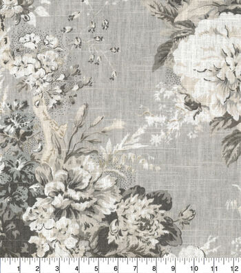 "Waverly Designer Upholstery Fabric 54""-Ballad Bouquet Platinum"