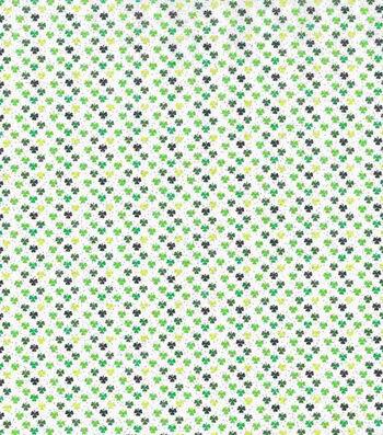 St. Patrick's Day Glitter Fabric 43''-Tiny Shamrock