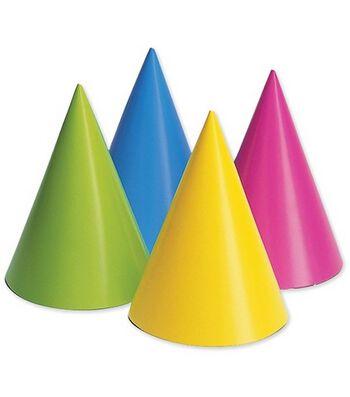 Party Hats 8/Pkg-Assorted Colors-Neon