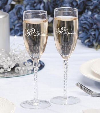 Darice® 2pk Bride & Groom Twisted Champagne Glasses