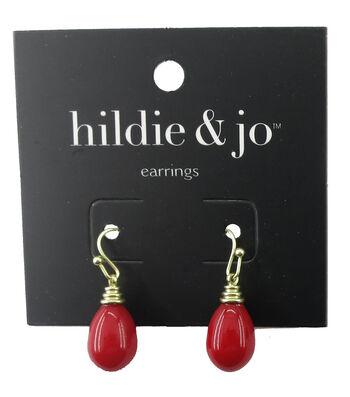 hildie & jo™ Gold Earrings-Red Bead