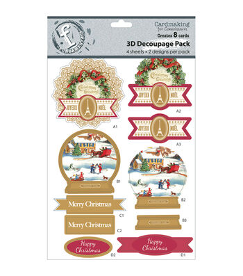 Fundamentals 3D Decoupage Pack 2 Designs/2 Each-Christmas Tree-Makes 8 Cards