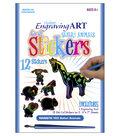 Royal Brush Engraving Art Rainbow Stickers Kit-Safari Animals
