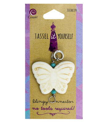 Cousin® Tassel It Yourself Stone Butterfly Connector-White