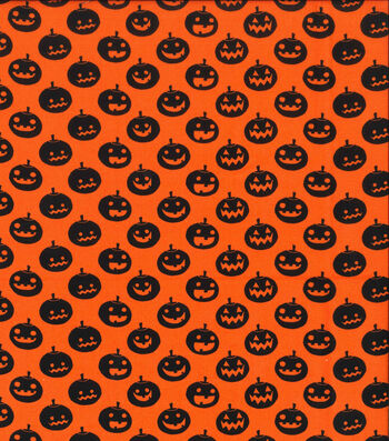 Holiday Showcase™ Halloween Cotton Fabric 43''-Large Pumpkins on Orange