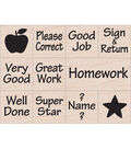 Hero Arts 11 Pack Wood Mounted Rubber Stamps-Messages from Teacher
