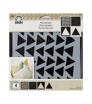 "FolkArt® 8""x8"" Craft Stencil Value Pack 4pk-Triangles, , hi-res"