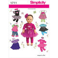 Simplicity Pattern 1711OS One Size -Crafts Doll Clothes